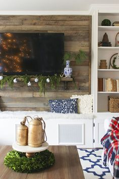 I love this plank wall behind the TV!