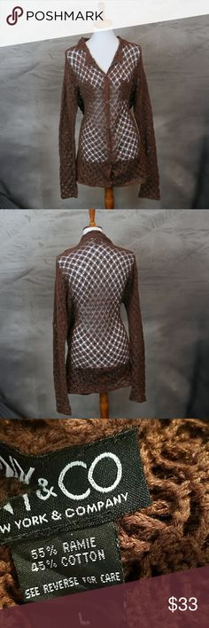 New York & Company crochet collared cardigan L New York & Company crochet collared dark brown cardigan L. Cotton & ramie. Excellent condition. New York & Company Sweaters Cardigans