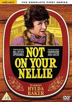 'Not On Your Nellie' ran from starring veteran actress Hylda Baker as Nellie Pickersgill, a Bolton woman who moves to London to help run her ailing father's Chelsea pub. 17 episodes of the series were produced by London Weekend Television for ITV. British Sitcoms, British Comedy, Family Memories, Childhood Memories, Vintage Television, Old Time Radio, All Episodes, Old Tv Shows, Vintage Tv