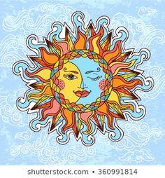 Sagittarius Tattoo Is For Individuals That Happen To Be Optimistic And Possess Sun Moon Stars, Sun And Stars, The Sun, Sun And Moon Drawings, Sun Art, Hippie Art, Rock Art, Painted Rocks, Fantasy Art
