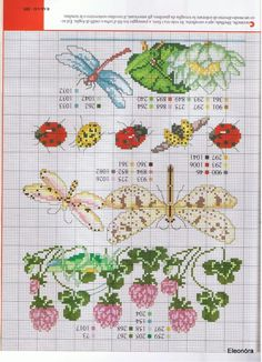 Garden plants and insects - upside down! - free cross stitch patterns