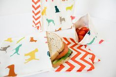 PLASTIC-FREE Colorful Puppy Dogs Sandwich and Snack Bags