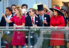 Princess Beatrice of York, Dave Clark, James Murray Wells and <a gi-track='captionPersonalityLinkClicked' href=/galleries/search?phrase=Princess+Eugenie&family=editorial&specificpeople=160237 ng-click='$event.stopPropagation()'>Princess Eugenie</a> of York watch the racing as they attend Day 5 of Royal Ascot at Ascot Racecourse on June 21, 2014 in Ascot, England.
