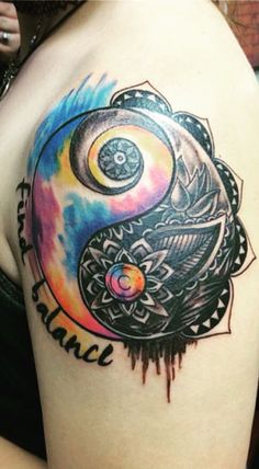 Watercolor Yin yang tattoo - Instagram artist @notbob.thetattooer ...
