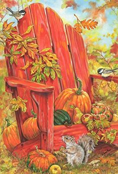 Illustration by Donna Race Autumn Painting, Autumn Art, Autumn Leaves, Flag Painting, Fall Pictures, Pictures To Paint, Fall Pics, Vintage Diy, Pumpkin Art