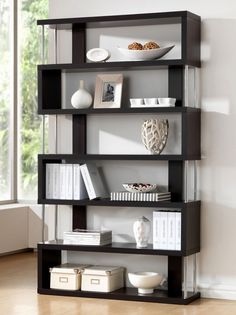 Javier Modern Zig Zag Display Shelving (High) by Baxton Studio