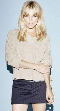 Who made  Sienna Miller's nude sweater?