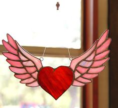 Heart and Wings Rock and Roll Winged Heart Motorcycle Gift Stained Glass Suncatcher on Etsy, $58.38 CAD