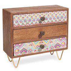 Boîte 3 tiroirs en bois H 22 cm INCA