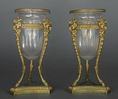 French Pair of Bronze & Baccarat Glass Vases - Jun 2017 Mason Jar Wine Glass, Glass Vase, Louvre, Baccarat Crystal, Hurricane Lamps, House Ornaments, Vase Centerpieces, Sconces, Wall Lights