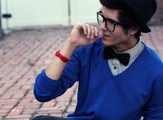 #bowtie #hat #blue #glasses #men #style