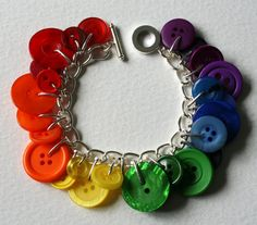 Button Charm Bracelet Rainbow Multicoloured by Mrs Gibson on Etsy.