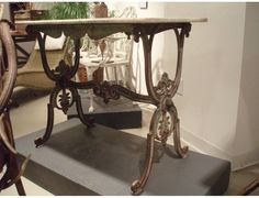French cast iron table base