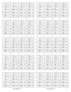 Worksheets 1to 100 Tables And Squares Chart Images square roots the ojays and on pinterest free of perfect squares reference card from root 1 to