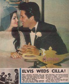 Newspaper story wedding Elvis and Priscilla Presley