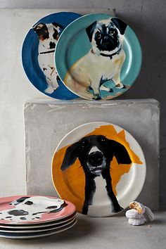Dog-a-Day Dessert Plate. These gorgeous painted plates by Sally Muir are ideal for any dog lover. The designs are colourful and playful bound to liven up any dinnerware.