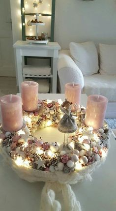 Rustic Christmas Crafts, Rose Gold Christmas Decorations, Christmas Advent Wreath, Classy Christmas, Christmas Room, Christmas Candles, Christmas Centerpieces, Christmas Aesthetic, Christmas Inspiration