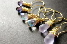 Teardrop Earrings Set of Three Wire Wrapped Earrings Gold. Lavender Collection. Handmade Earrings. by Gilliauna from Bits n Beads by Gilliauna. Find it now at http://ift.tt/2f7KtOp!