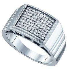 Sterling Silver 0.26CTW DIAMOND MICRO PAVE MENS RING: Rings
