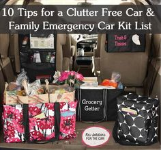 10 Clutter Free Car Tips - Family emergency car kit list - Thirty-one car organization.