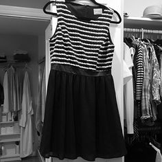 Black & white scalloped top dress Black & white scalloped top dress with faux leather band, solid black skirt Moon Collection Dresses Mini