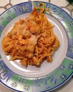 leckerer Spaghetti Auflauf mit Lachsstückchen
