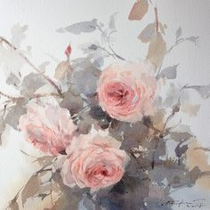Soft and sweet... #art #watercolor #artist #painting #roses #soft #sweet #flowers #floral #pink