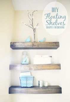 10 Stunning Diy Ideas: Floating Shelves Fireplace Living Room floating shelf how to bathroom.Floating Shelves Kitchen Rustic floating shelves over tv ikea hacks. Floating Shelves Bathroom, Rustic Floating Shelves, Glass Shelves, Floating Stairs, Bathroom Storage, Floating Wall, Bathroom Ideas, Tv Ikea, Design Ikea
