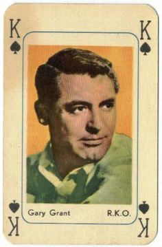 Cary Grant ~ King of Spades, playing card. Old Hollywood Stars, Hollywood Actor, Classic Movie Stars, Classic Movies, Gary Grant, King Of Spades, Black And White Stars, Vintage Playing Cards, Jouer
