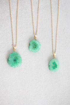 Jade Green Frost Druzy Necklace