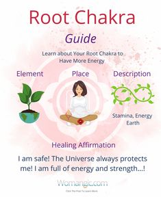 Learn About Your Root Chakra to have more energy:) This little poster can be a great reminder how you can work with your chakras on daily basis! Chakra, Chakra Balancing, Root, Sacral, Solar Plexus, Heart, Throat, Third Eye, Crown, Chakra meaning, Chakra