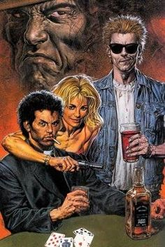 "#Preacher by Garth Ennis & Steve Dillon - There's a whole lot of blasphemy, some wonderfully dark and realistic artwork and a foul-mouthed Irish vampire thrown in for good measure. Bringing a whole new meaning to the concept of ""searching for God"", Ennis' wonderfully witty and devastatingly grim comic series is demented, irreverent and unmistakably uproarious. Quentin Tarantino with a Western vibe, Preacher is a gripping and confrontational read."