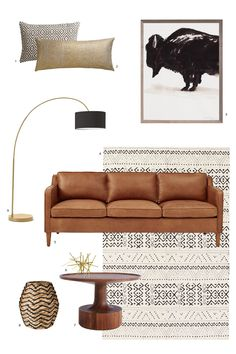 1. Diamond Lattice Pillow from CB2 // 2. Glitterati Gold Pillow from CB2 // 3. Bison Wall Art from Dwell Studio // 4. 4040 Locust Striped Diamond Rug from UO // 5. Hamilton Leather Sofa from West Elm // 6. Tubular Burst Sculpture from Dwell Studio // 7. Turn Coffee Table from Blu Dot // 8. Drum Basket from Target // 9. Overarching Floor Lamp from West Elm Checkout more home decor posts Related Posts Jul 23, 2015 Furnishings + Decor, Design Guides Home Decor + Furnishings, Bedrooms Jay...