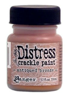 RANGER: TIM HOLTZ - DISTRESS CRACKLE PAINT - ANTIQUE BRONZE Distress Crackle Paint er en maling som lager en eldet effekt - krakelering.  http://www.kreativscrapping.no/categories/tim-holtz-distress-crackle-paint