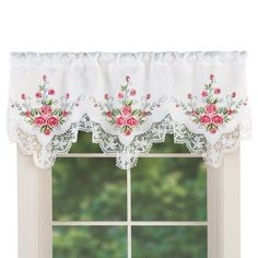 Exquisite Mini Roses Lace Curtain Valance Window Topper Shabby Chic Decor #shabbychickitchen