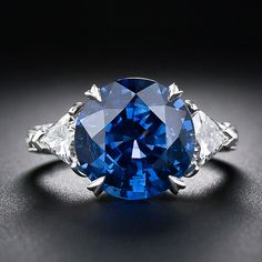 6.62 Carat Sapphire and Diamond Ring - 30-1-5087 - Lang Antiques; $23000; this is EXACTLY what I want - except with a center Ruby instead, & yellow gold prongs instead of silver on the ruby!!!