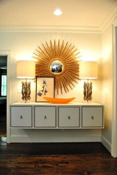 floating console with great vignette style - sunburst mirror, nailhead trim - via Young House Love Floating Cabinets, Floating Table, Floating Shelves, Sweet Home, Sunburst Mirror, Sun Mirror, Floor Mirror, Wall Mirror, Young House Love