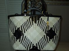Cole-Haan-Genevieve-II-XL-Black-Ivory-Plaid-Woven-Leather-Tote-MSRP-525