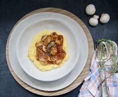 Polenta Crémeuse, Sauce Tomate, Pancakes, Vegan, Breakfast, Food, Polenta Fries, Seasonal Recipe, Mushroom