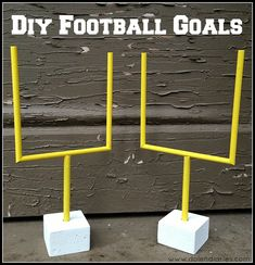Save toilet paper and paper towel tubes to make a paper goal post for some rainy day fun. Paper goal posts are quick and easy to make, even for children.