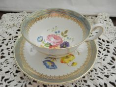 Royal Grafton Tea Cup & Saucer, Eggshell Blue with Gold Gilt and flowers #RoyalGrafton