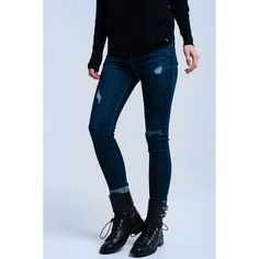 #50-75 #Apparel #Blue #Denim #ExtraLarge #ExtraSmall #Jeans #Large #Medium #Modalyst #Q2 #Small #Women Dark skinny jeans in pure cotton woven fabric. It has 5 functional pockets and a concealed fly with button closure. Feature worn effect in the front. There are behind round seams that create a push-up effect.    Color: Blue Material: 96% Cotton 3%... https://aiyza.com/products/dark-jeans-with-worn-effect
