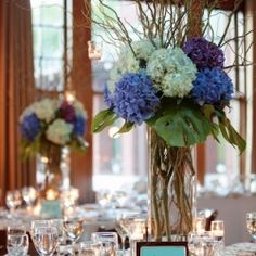 Blue Hydrangea and Curly Willows... Unique and stylish color idea for fall wedding decor.