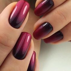 black and maroon ombre nails - - nageldesign - Ongles Gradient Nails, Acrylic Nails, Gel Ombre Nails, Ombre Nail Art, Umbre Nails, Ombre Nail Polish, French Manicure Ombre, Ombre Nail Colors, Sns Nails Colors