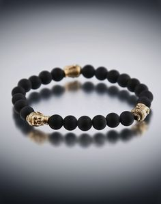 Dyoh Buddha Theravada Collection - 14K Gold with Oxidized Tri Buddha Inset with 8mm Matte Black Onyx Bead Bracelet DYOH8M-3B14K