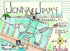 Custom Wedding Map Hand Drawn Original Artwork by JLHArtStudio, $75.00