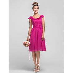 A-line Princess Scoop Chiffon Bridesmaid Dress With Ruffles(605548) - USD $ 99.99