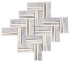 Adagio White Carrera With Thassos Line Marble Tile traditional-tile - $18.90 - for backsplash insert and butler's pantry