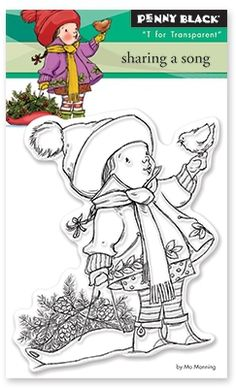 Penny Black Sharing a Song - Clear Stamp. Christmas themed Penny Black clear stamp featuring a child holding a wreath and cardinal. Tampons Transparents, Mo Manning, Card Making Supplies, Christmas Stickers, Christmas Cards, Holiday Cards, Christmas Embroidery, Copics, Arts And Crafts Supplies