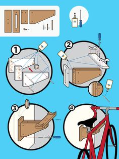 Bike Rack Kit Instructions by Brian Talbot, via Behance Bycicle Illustration, Bycicle Woman # Wall Mount Bike Rack, Architecture Presentation Board, Information Design, Brochure Layout, Design Language, Technical Drawing, Design Files, Design Process, Portfolio Design